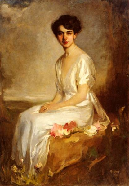 Portrait Of An Elegant Young Woman In A White Dress